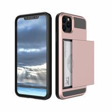 For iPhone 11/ 11 Pro/11 Pro Max Slide Card Slot Shockproof Armor Hybrid Rubber Hybrid Case Back Hard Cover Shell