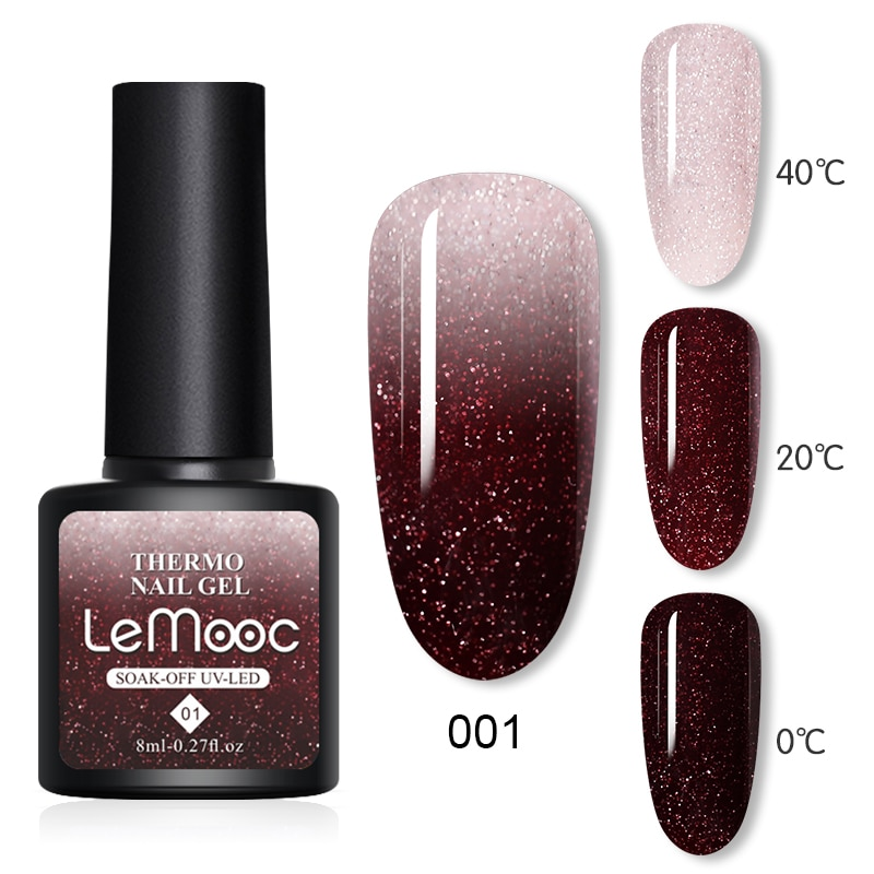 LEMOOC Thermal Nail Polish Gel Shiny Sequins Effect Color Change Varnishes Bling Glitter Soak Off Temperature Color Changing Gel