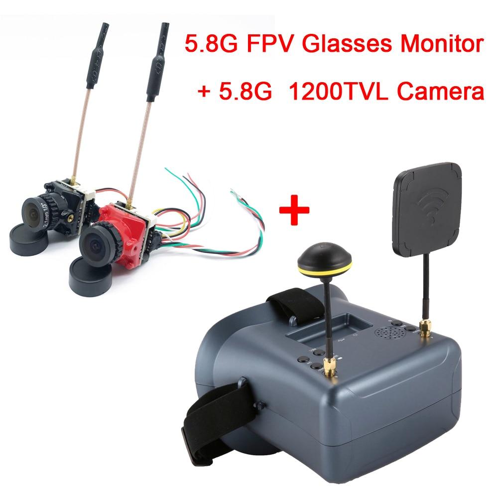 Nuevas gafas FPV VR con DVR, búsqueda automática, gafas FPV 5,8G 40CH HD brillo LCD 2000mA y cámara transmisor de 25/100/200mW