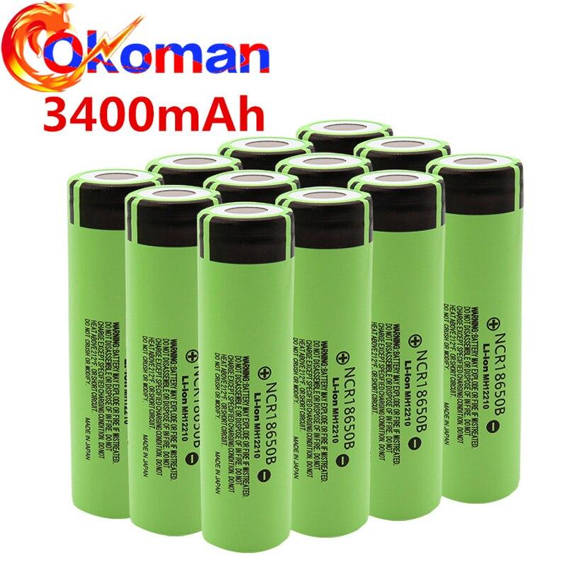 2-20 pces ncr18650b original 3.7v 3400mah 18650 bateria recarregável de lítio para baterias de lanterna elétrica