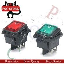 5PCS KCD4-202 DPST boot rocker switch power schalter 4 füße mit schwarz rot grün blau gelb licht 31x25mm 20A 125VAC 16A 250VAC