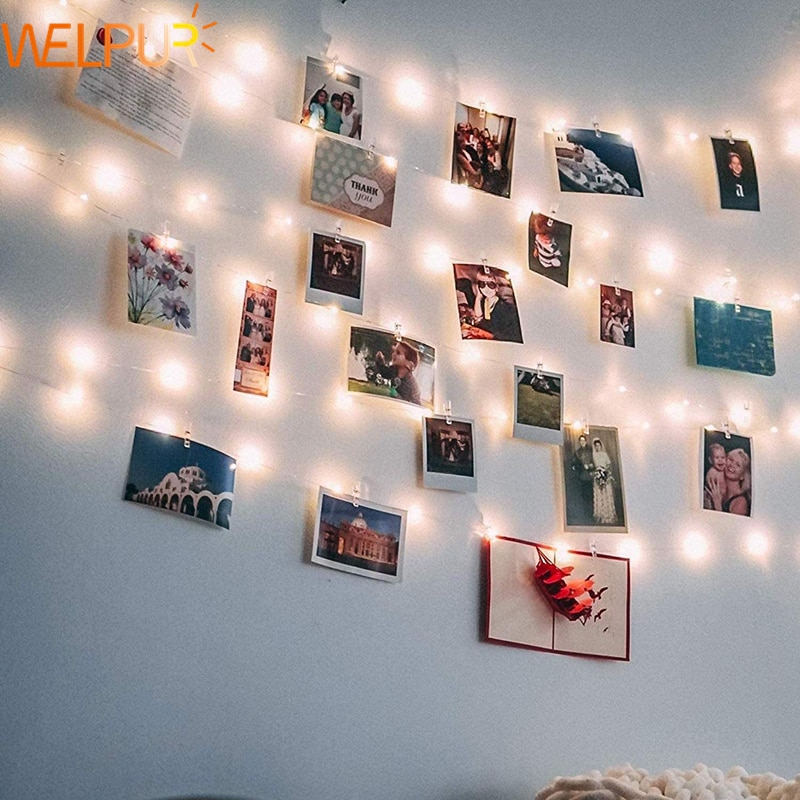 LED String Lights Photo Clip USB Outdoor Battery Operated Garland Christmas Decoration Holiday Party Wedding Xmas Fairy Lights