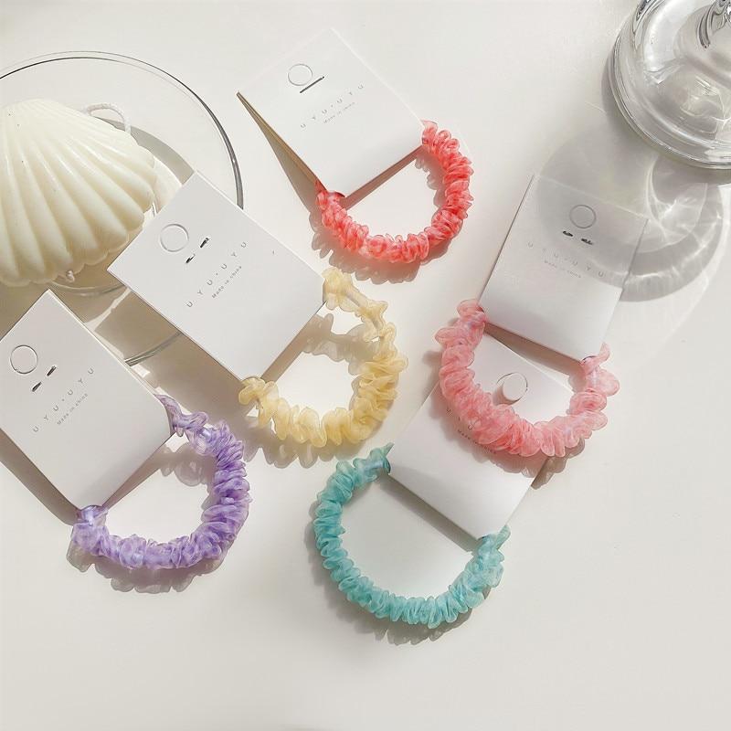 10PC coreano sombrero sólido coleta mujer titular de las bandas elásticas para pelo anillo de cuerda para el cabello gomas de pelo Scrunchies Accesorios