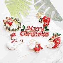 12 Styles Trendy Christmas Brooch Santa Claus Christmas Tree Elk Simple Cartoon Icon Brooch Fashion