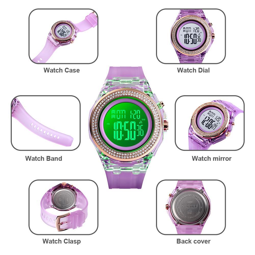 SKMEI Luxury Rhinestone Dial Women Watches LED Light Display Female Ladies Digital Clock Countdown Chrono Relogio Feminino 1598 enlarge