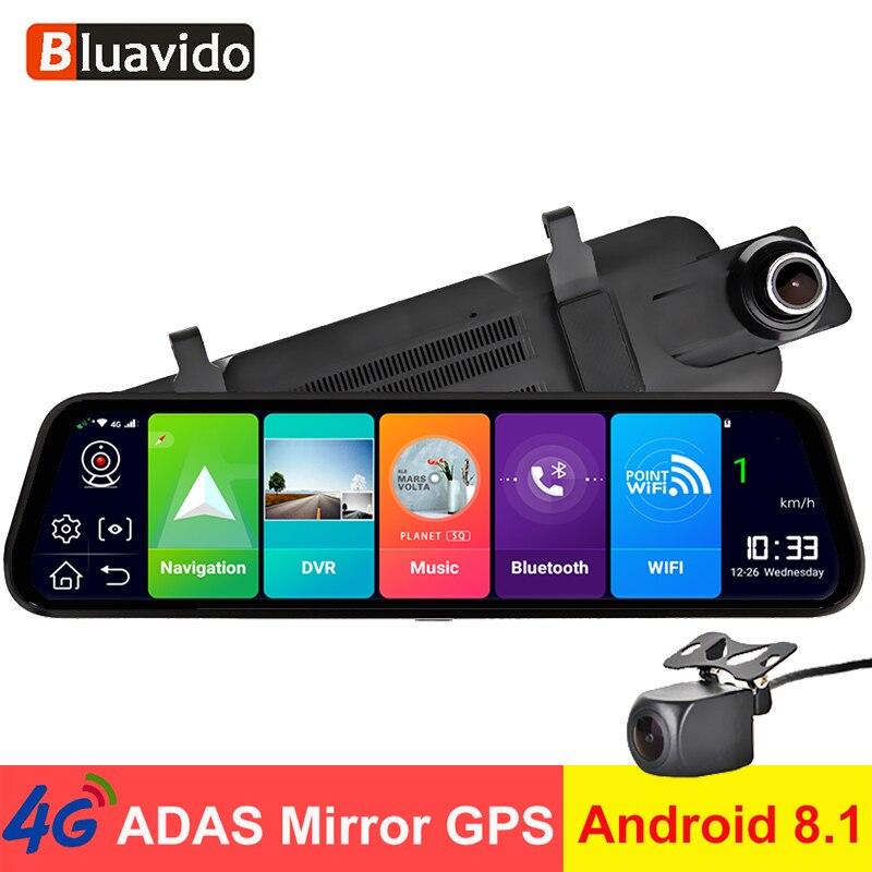 """Bluavido 10 """"espejo retrovisor del coche 4G Android 8,1 Dash Cam navegación GPS ADAS FHD 1080P cámara de vídeo del coche DVR Vista Remota"""
