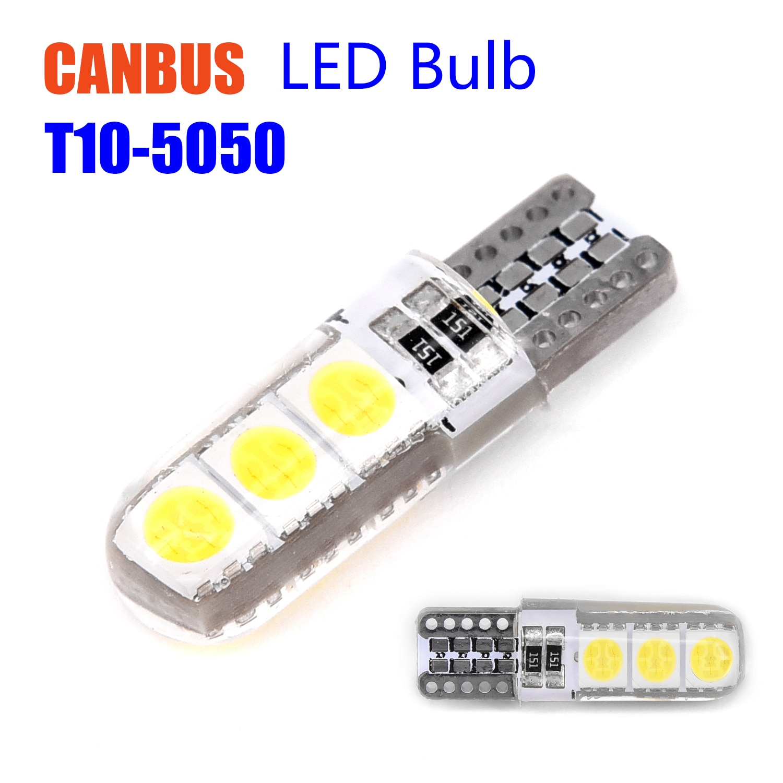 10 Uds T10 194 W5W T10-5050-6SMD carcasa de silicona Canbus coche LED luces de cuña lateral larga vida útil duradera de uso
