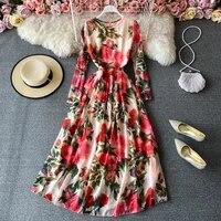 elegant women floral mixi dress ladies long sleeve o neck chiffon red dress 2021 sukienka plus size female vestidos
