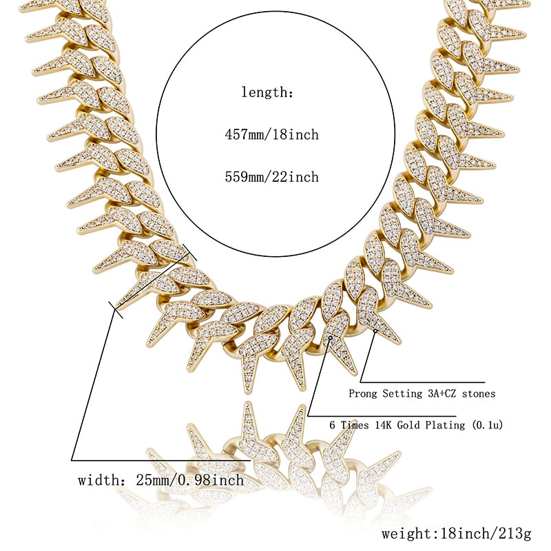 TOPGRILLZ 25 mm Box buckle Thorns Cuban Necklace Ice Out Cubic Zirconia Necklace Hip Hop Men Fashion Jewelry