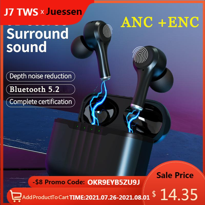 TWS ANC Wireless Bluetooth 5.2 Earphones Active Noise Cancelling Hi-Fi Headphones Touch Control Gami