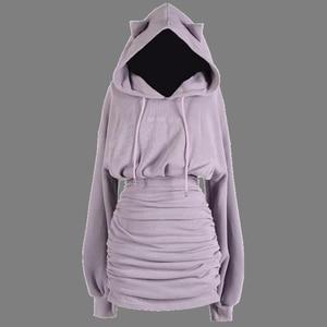2021 Hooded Mini Dress Gothic Black Purple Long Sleeve Streewear Hip Hop Punk Dresses Pencil For Party Winter Women Clothing