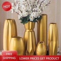 living room dried flowers gold vase ceramic home aesthetic room decor vase living room adornos para casa vases for decoration