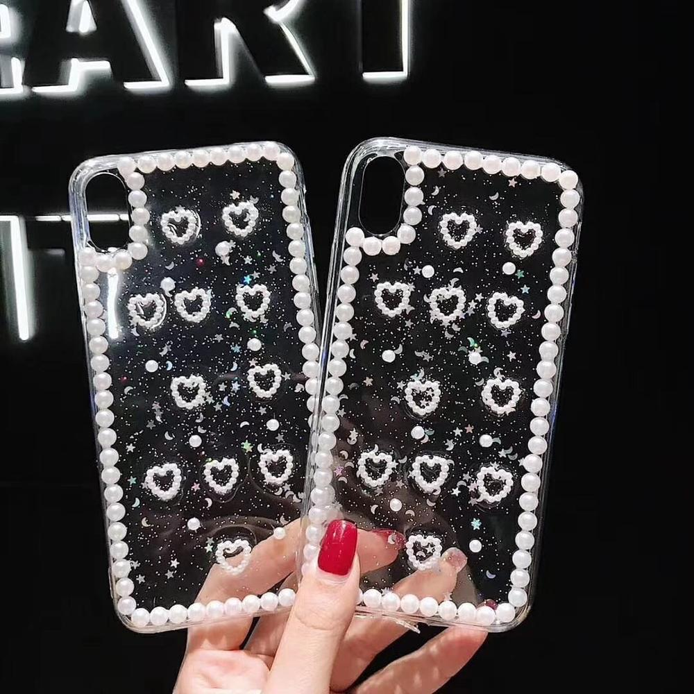 Sinocom Handa Glitter Pearl Phone Cases For iPhone 11 case XS Max XR 6S 7 8Plus Ultra-thin Soft TPU Clear Love Heart Back Cover