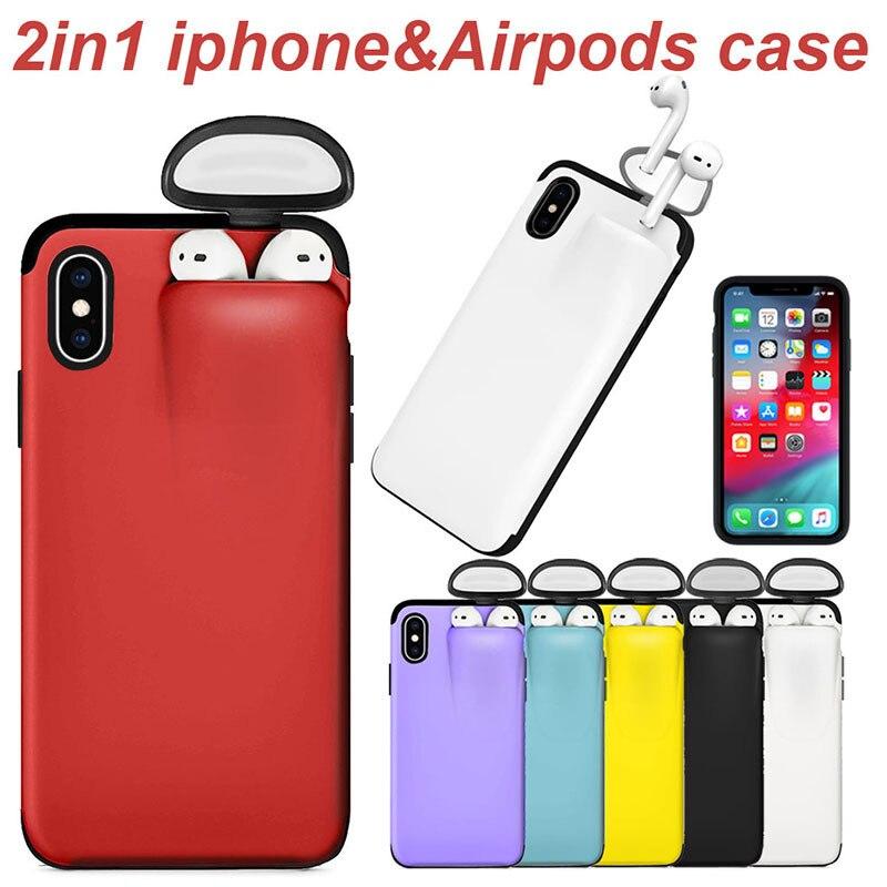 2 em 1 caixa do telefone caixa de armazenamento do fone de ouvido para o iphone 11 pro xs max xr x 7 8 plus airpods 1 2 capa de silicone macio com tampões de fone de ouvido