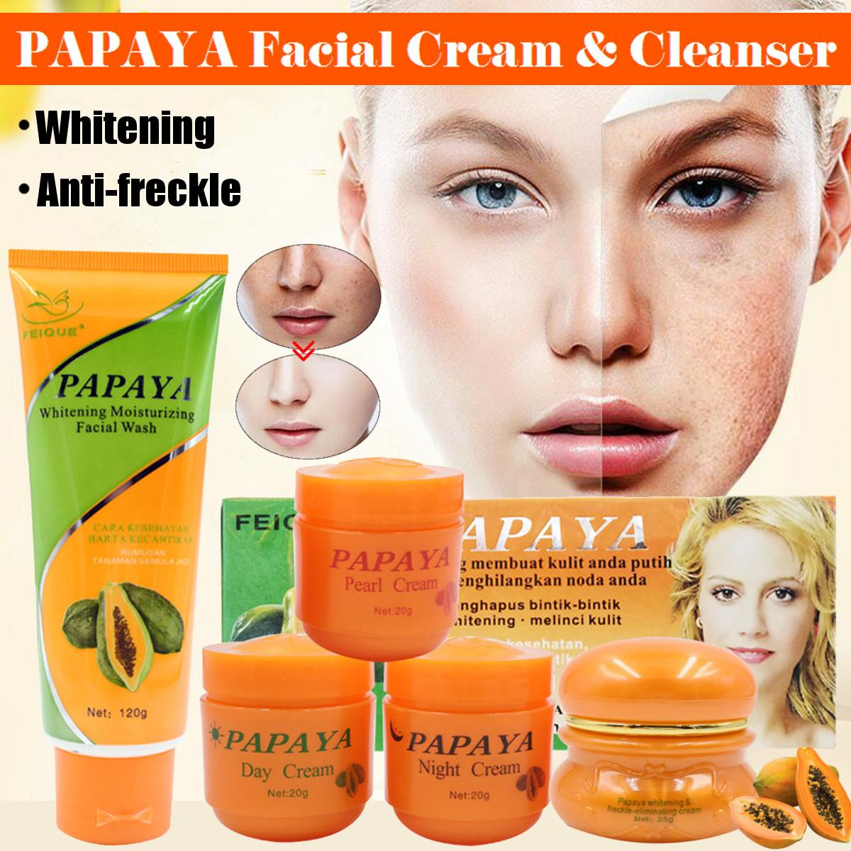 Crema blanqueadora de Papaya para cara, fórmula botánica Natural antipecas, crema de día + crema nocturna + crema perlada + blanqueadora