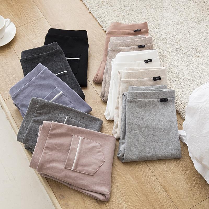 2019 Leggings Women Fall New Cotton High Waist Pocket Tights Stretch Large Slim Pants Fitness Leggings Trousers Women Clothing