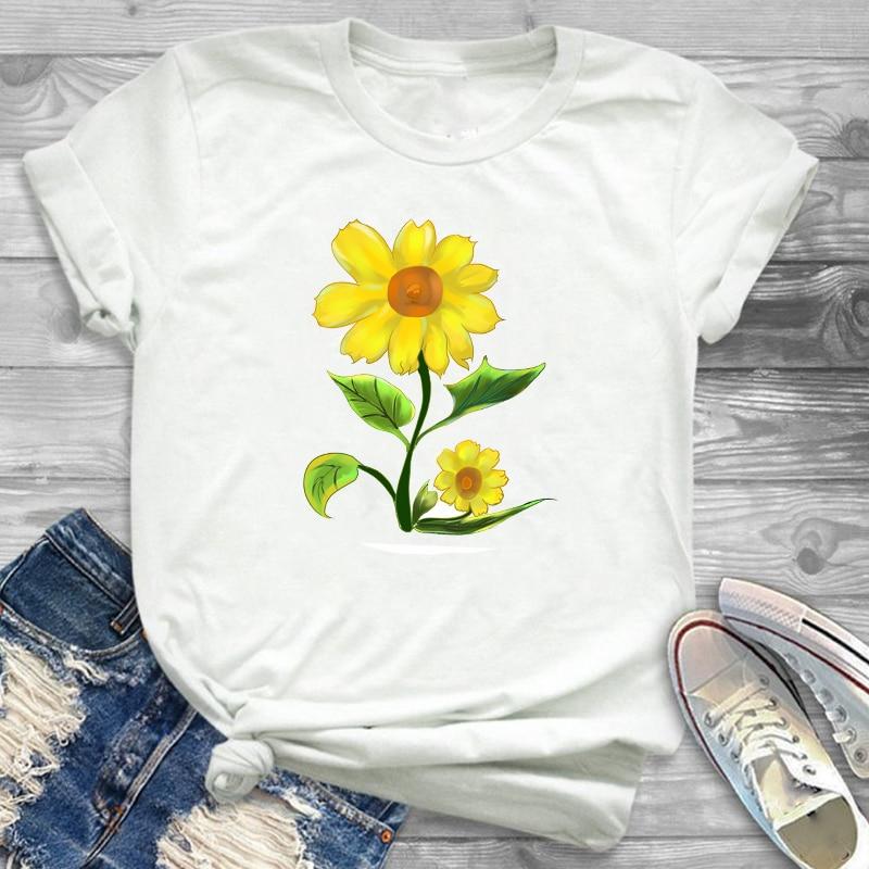 Sunflower Painting Flowers Womens Female Graphic T Shirt T-Shirt Streetwear Tee Tees T-shirts Women Fashion Clothing