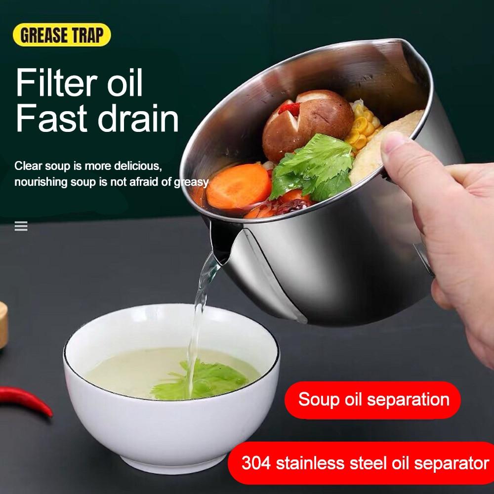 Cocina salsa aceite sopa separador de grasas tazón Multi-uso 304 Acero inoxidable engrasador filtro colador olla cocina Gadgets