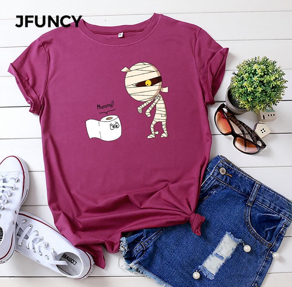 JFUNCY 2020 New Summer Woman Top 100% Cotton Women T Shirt Plus Size Cute Mummy Cartoon Printed T-shirt Short Sleeve Female Tee