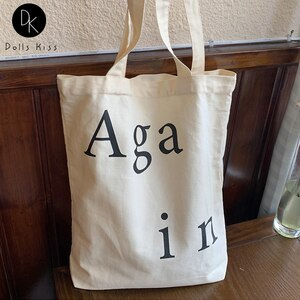 Female Canvas Shopping Bag Female Simple Again Letter Handbag Ladies Eco-Friendly Grocery Bag Travel Casual Tote Bag for Girls