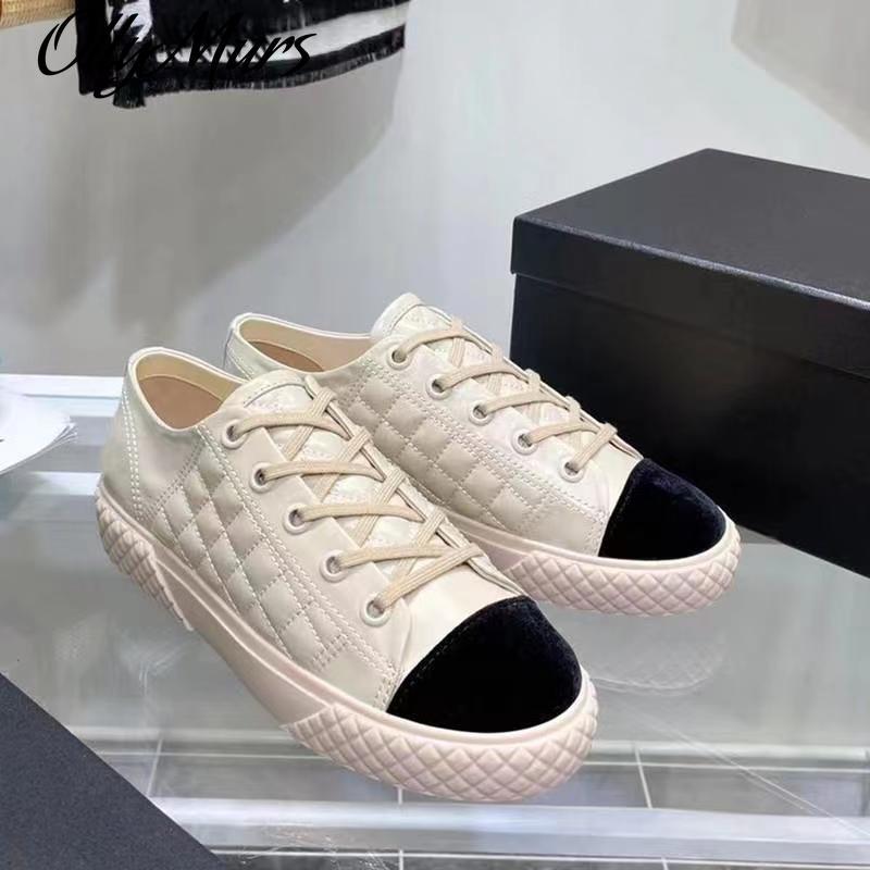 Ollymurs جلد طبيعي حذاء كاجوال المرأة سميكة القاع شيك أحذية المعين تصميم مختلط الألوان الفاخرة العلامة التجارية المدرج الأحذية