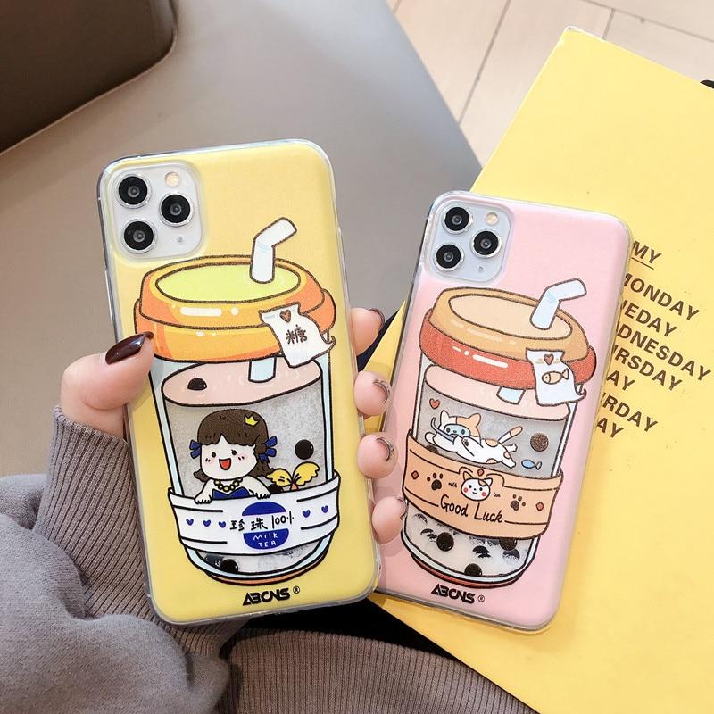 Divertida caricatura de gato de arenas movedizas funda para teléfono para iPhone 11 7 8 Plus X XR XS Max lindo té de leche funda trasera suave TPU