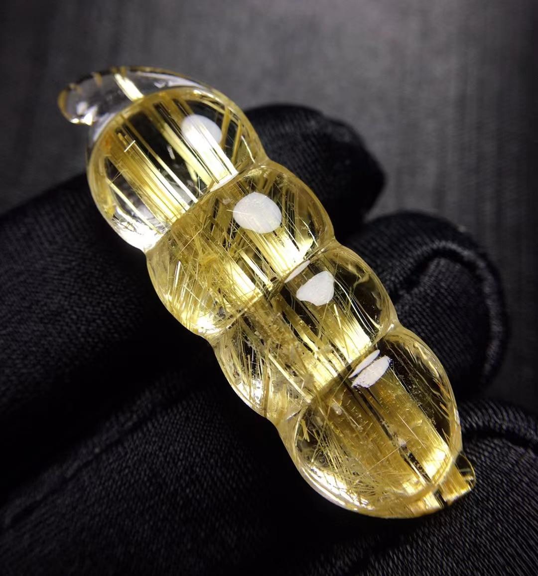 Top Natural Gold Rutilated Quartz Pendant Bean Brazil 38.3*13*9.5mm Wealthy Women Men Women Jewelry 18K Gold AAAAAA
