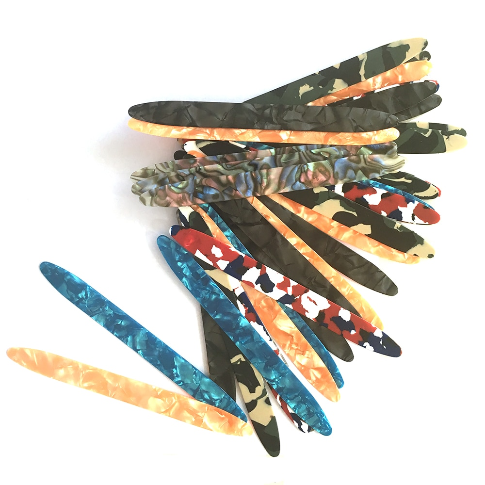 Lots of 50pcs Celluloid Oud Picks Plectrums Reeshe Risha Thickness 0.71mm Mixed Colors enlarge