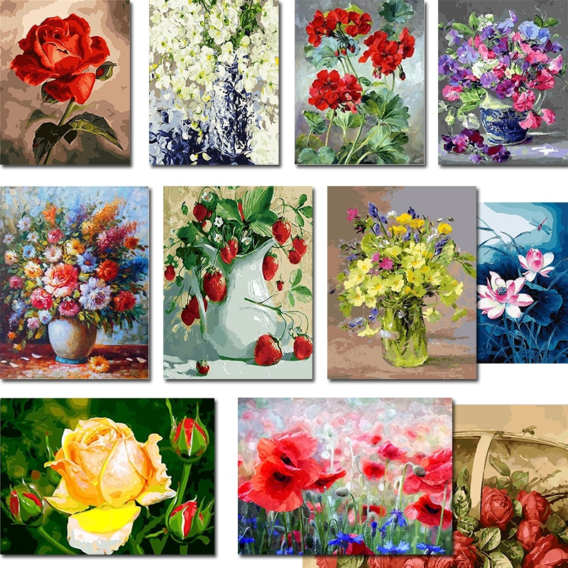 AliExpress - GATYZTORY DIY Painting By Numbers Flowers HandPainted Oil Painting Acrylic Painting Home Decor Unique Gift Fun at Home