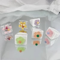 new ins colorful cute flower acrylic ring temperament candy color cartoon resin flower rings for women girls fashion jewelry