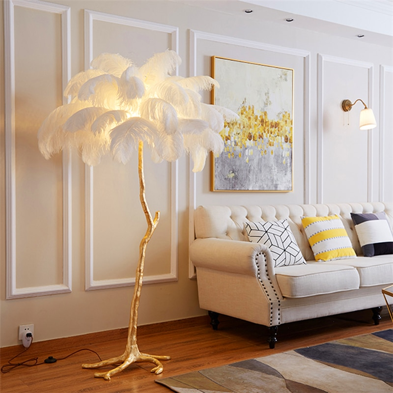 lampada de chao em led de pena de avestruz estilo nordico para decoracao interior