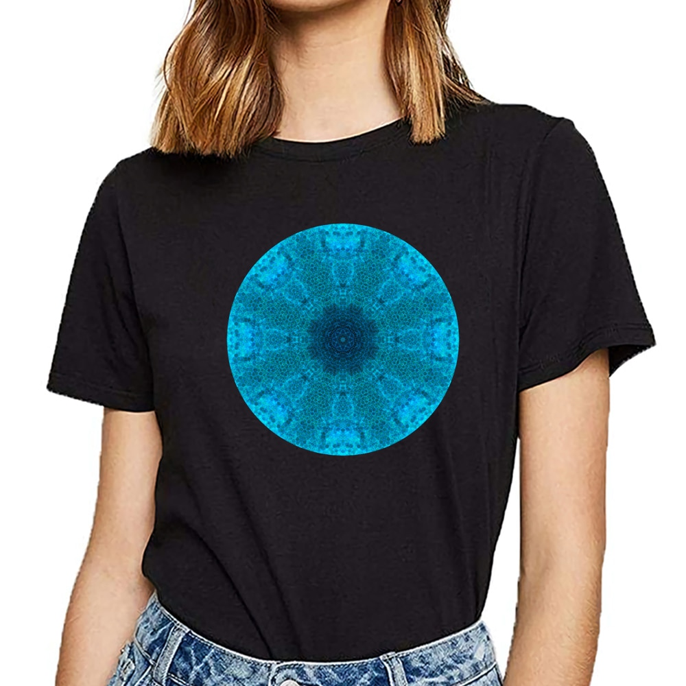 Tops camiseta mujer sombras de mandala azul Casual negro personalizado camiseta femenina