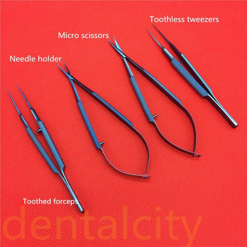 Instrumentos quirúrgicos Tlloy de titanio, instrumentos microquirúrgicos oftálmicos, soporte de aguja + tijeras + pinzas de 11,5 cm