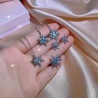 classic snowflake shaped blue zircon womens jewelry set earrings rings three piece bridal jewelry set zirconia jewelry set