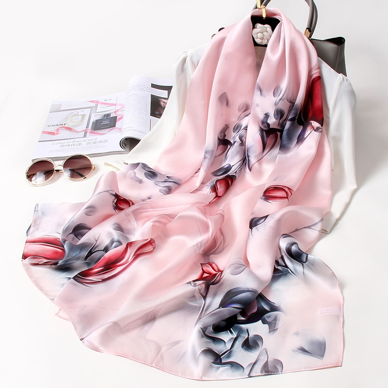 New 100% Real Silk Scarf for Women Chinese Style Luxury Pure Natural Silk Scarves Floral Printed Nec