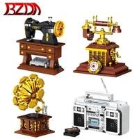 bzda retro mini bricks telephone phonograph sewing machine building blocks high tech retro player model brick collection toys