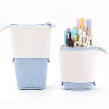 Creative Retractable Pencil Case School Stationery Storage Bag  Solid Color Pen Case Cute  Gifts For