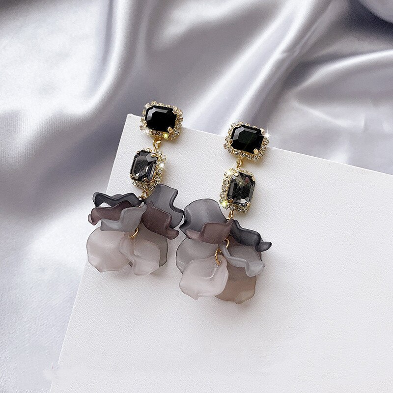 2020 novos brincos de jóias de pendientes por atacado de pétala de flor de rosa preta