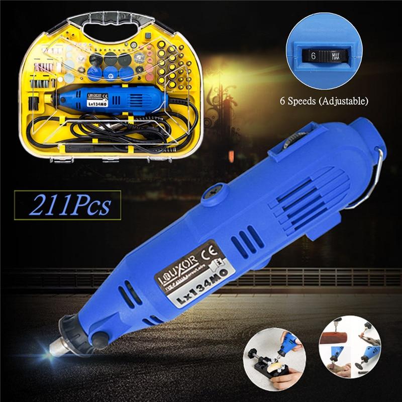 211 unids/set eléctrico AC 220V rotatorio Mini taladro amoladora grabador DIY pulidor herramientas eléctricas para Dremel rotatorio corte polaco herramientas