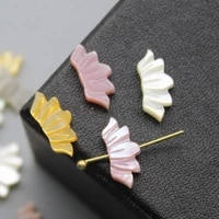 5pcs bag natural shell 6x13mm fashion double sided carved water lotus beads diy necklace hair clip earrings accessories