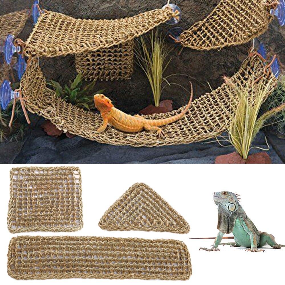 Terrário para Lagarto Réptil Espreguiçadeira Rede Pequeno Eremita Caranguejos Geckos Cama Esteiras Pet Tapete 40x17cm