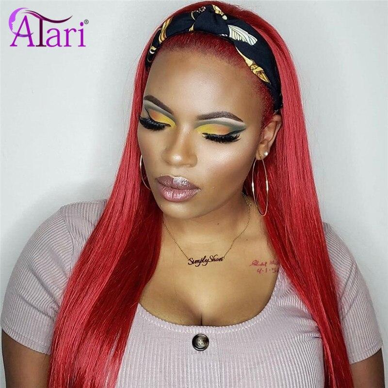 30 Inch Wig 99J Colored Human Hair Wig Headband Wig Human Hair Glueless Full Machine Made Wig For Black Women 180% Density Atari
