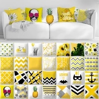 geometry yellow skulls decorative pillows cushion cover 45x45 summer pillowcase home decor sofa living room pillow cases 10474