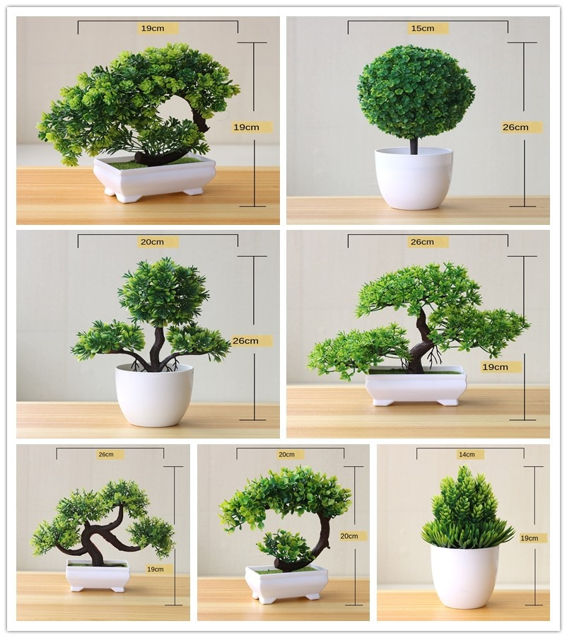 Artificial Plants Potted Bonsai Green Small Tree Fake Flowers Ornaments for Home Garden Decor Party Hotel