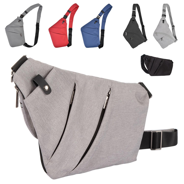 "OSOCE Ultra ince omuz göğüs çantası erkek Crossbody Sling Satchel Messenger 7.9 ""iPad renk gri siyah gümüş"