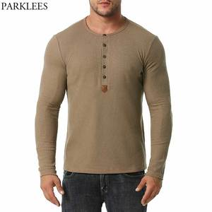 Mens Fashion Henley Neck T Shirt 2021 Cotton Casual Slim Fit Waffle Tshirt Men Long Sleeve Slim Fit Tee Shirt Homme Camisetas 2X