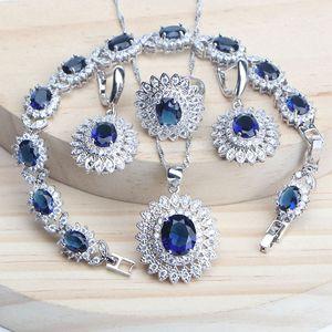 Azul cz prata 925 conjuntos de jóias para mulheres pulseiras anéis de prata natural brincos pedras pingentes de casamento colar conjunto