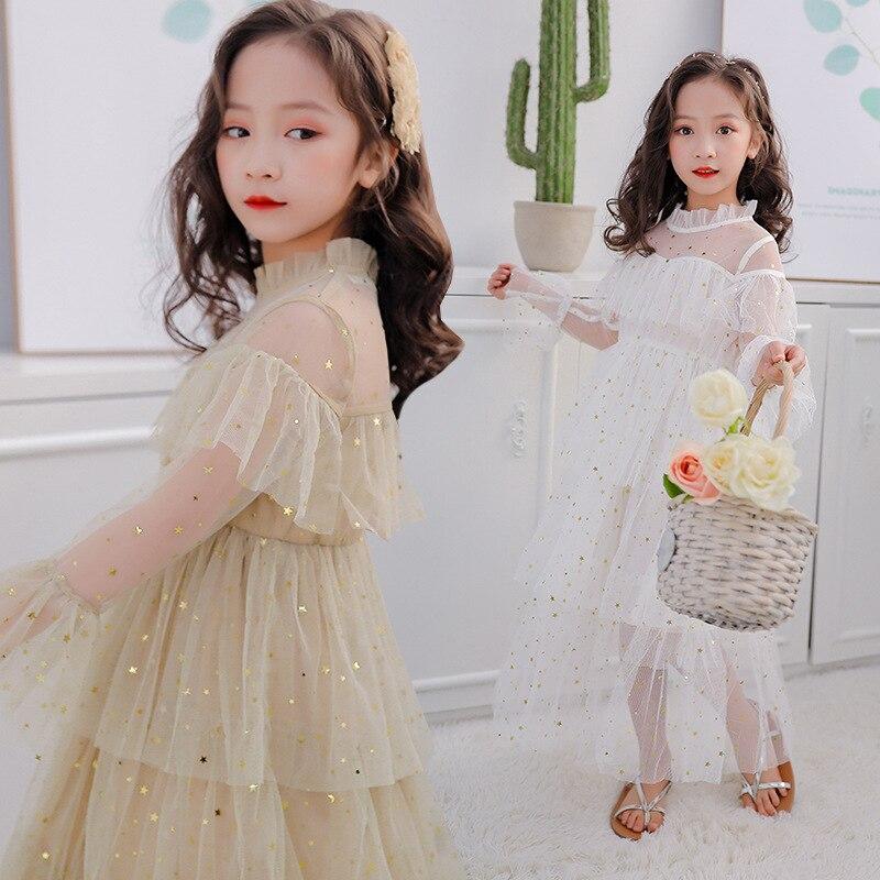 Vestidos infantiles para niñas princesa vestido de fiesta de la primavera de 2020 de malla lentejuelas niños vestidos en capas de ropa niños traje 10 12 13 años