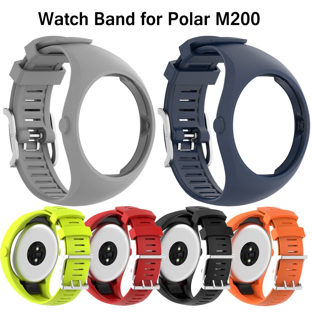 High Quality Silicone Watchband new Wrist Strap for Polar M200 smart Watch sport Replacement Bracelet For Polar M200 Accessories high quality comfortable silicone replacement wrist watch band for polar v800 smart bracelet with tool smart watch strap