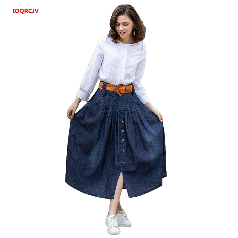 Falda vaquera 6XL para mujer tallas grandes nueva primavera cintura elástica con cinturón falda pantalones vaqueros casuales Falda vaquera larga suelta 692